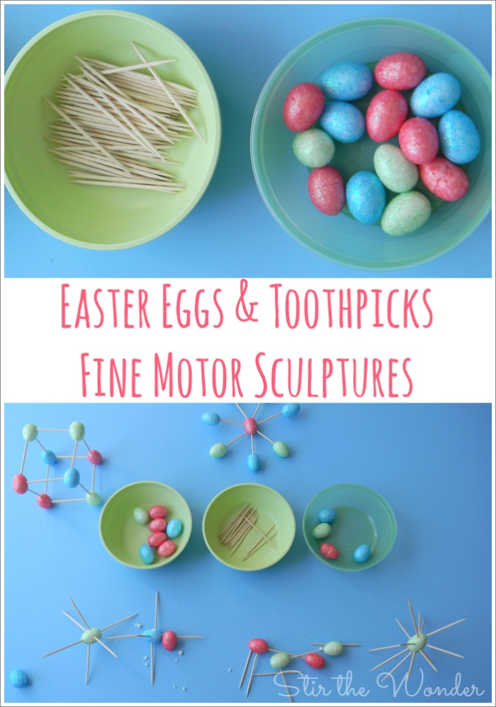 This week for Fine Motor Friday we got creative and made sculptures with tiny styrofoam Easter Eggs and toothpicks!