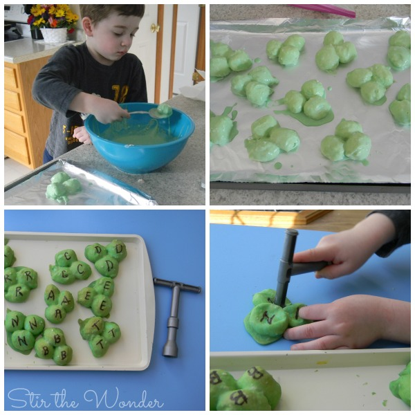 Making Baked Cotton Ball Shamrocks