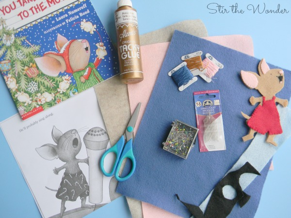 Supplies needed to make Felt Mouse for If You Give a Mouse a Cookie