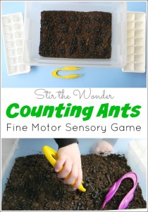 Counting Ants: Fine Motor Sensory Game is a fun way for preschoolers to practice early math skills!
