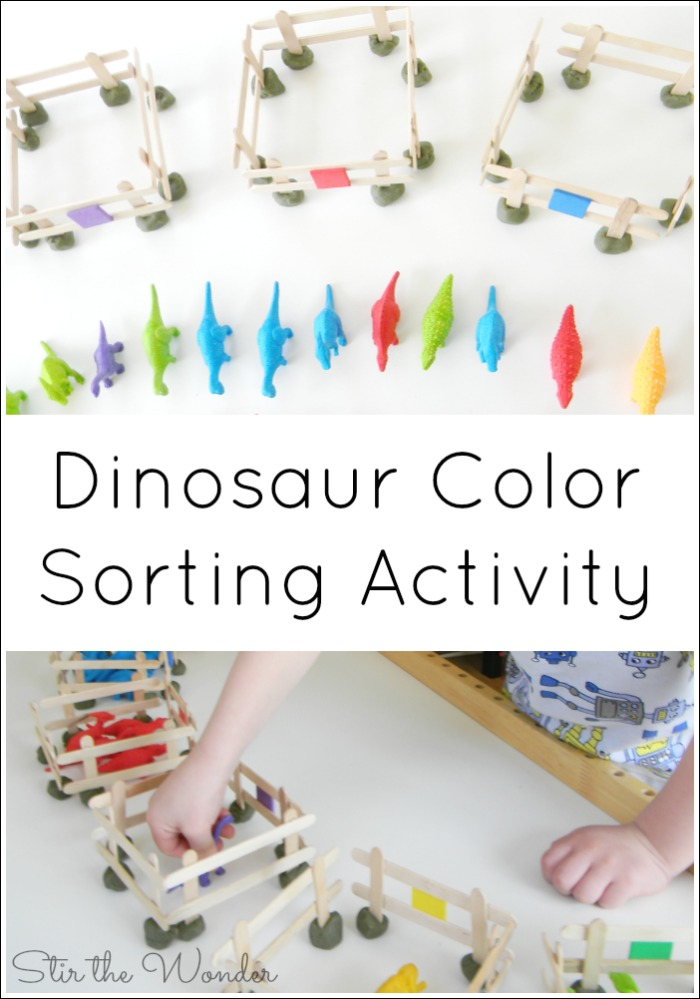 This Dinosaur Color Sorting Activity will get your preschooler sorting and recognizing different colors!