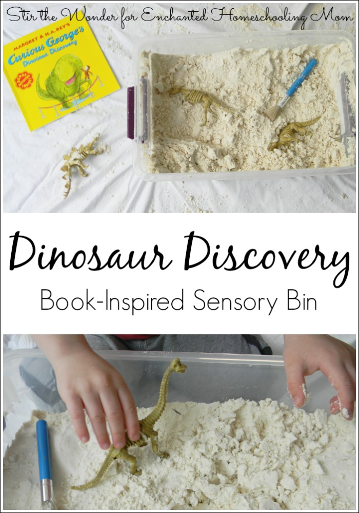 Kids will love digging for dinosaur bones with this Curious George's Dinosaur Discovery book-inspired sensory bin!
