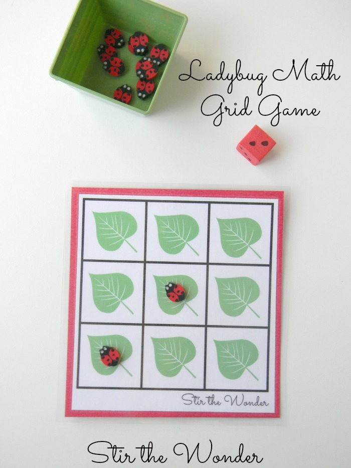 Ladybug Math Grid Game| This free printable game is a fun way for preschoolers to work on counting and one-to-one correspondence!