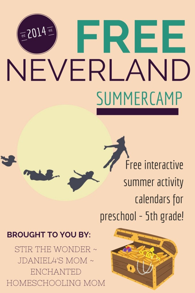 Neverland Summer Camp is an interactive calendar of fun activities to keep you and your kids busy and having fun all summer long!