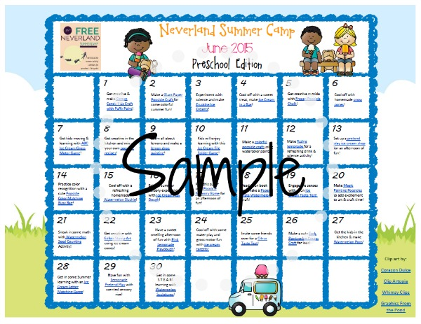 Sample preschool calendar for Neverland Summer Camp