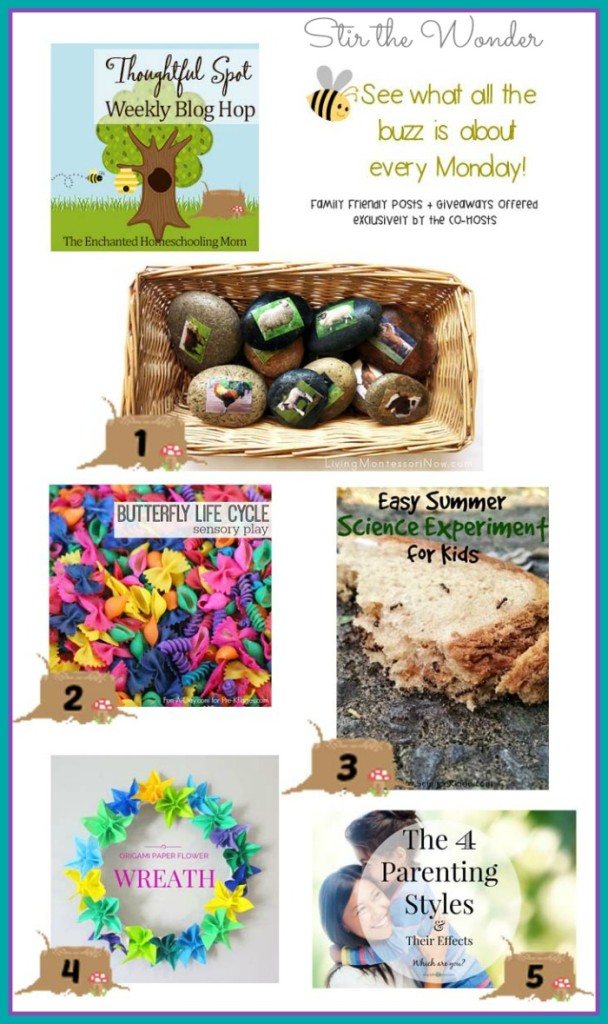 Thoughtful Spot Weekly Blog Hop #86 featuring posts from Living Montessori Now, Pre-K Pages, The Science Kiddo,  Hodge Podge Craft & Simply LindseyLoo!