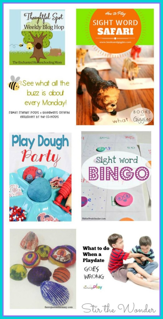 Thoughtful Spot Weekly Blog Hop #88 featuring posts from Books and Giggles, Life Over C's, P is for Preschooler, There's Just One Mommy and Encourage Play!