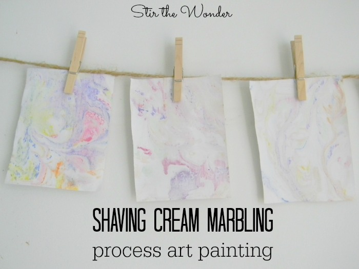 Shaving Cream Marbling Process Art Painting for Kids