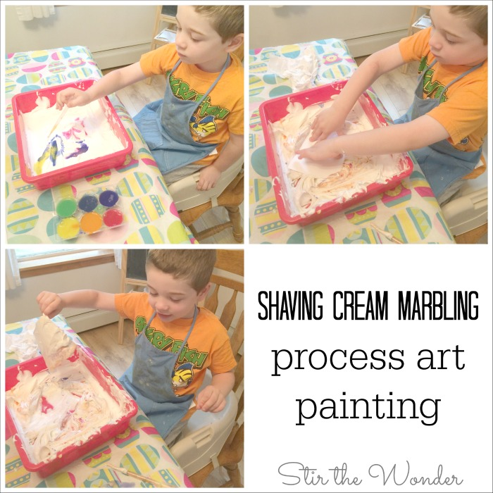 Shaving Cream Marbling Process Art Painting