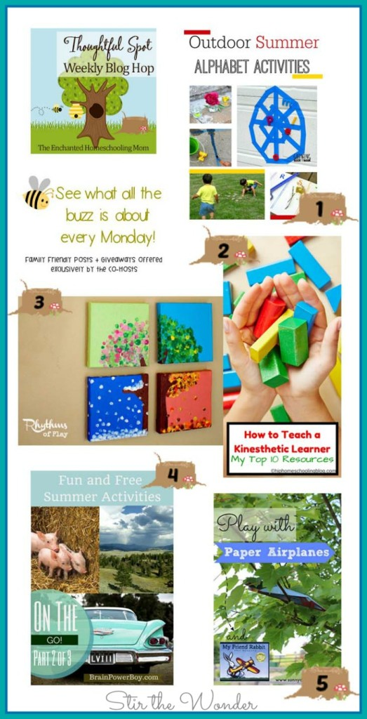 This week's Thoughtful Spot Weekly Blog Hop features posts from Growing Book by Book, Rhythm of Play, Hip Homeschooling, Brain Power Boy and Sunny Day Family.