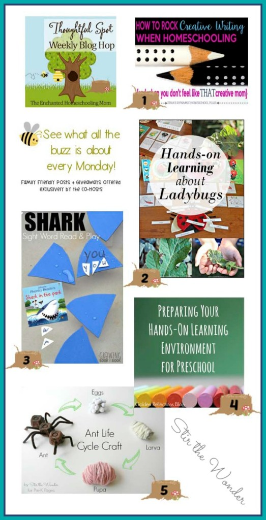 Thoughtful Spot Weekly Blog Hop featuring Tina's Dynamic Homeschool, Suzie's Home Education, Growing Book by Book,  Golden Reflections,  and Pre-K Pages!
