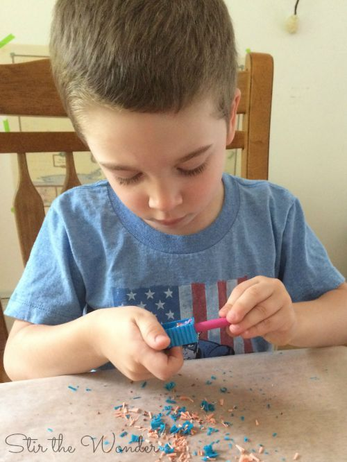 Melted Crayon Shavings Process Art