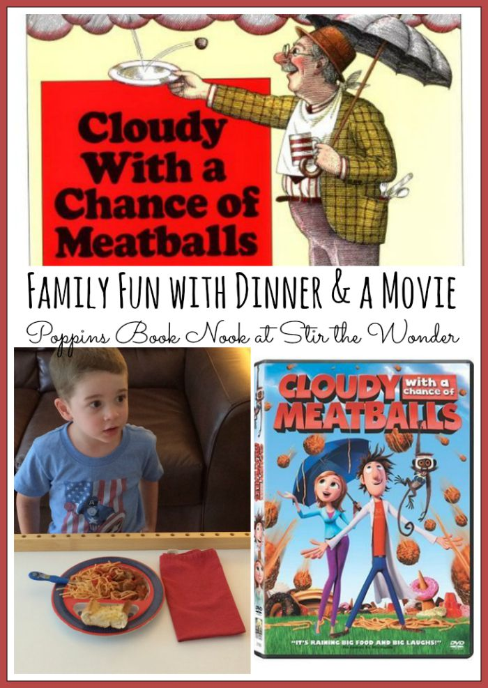 After reading Cloudy with a Chance of Meatballs we enjoyed a fun family dinner and a movie. We watched the new Cloudy with a Chance of Meatballs movie!