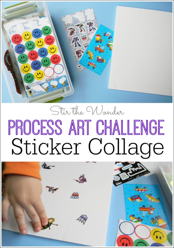 An easy way for kids to explore process art with collage is by using stickers! Preschoolers will enjoying expressing their interests by creating a collage with their favorite stickers!
