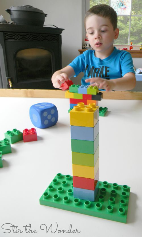 See who can build the tallest Duplo Tower while practicing counting skills!