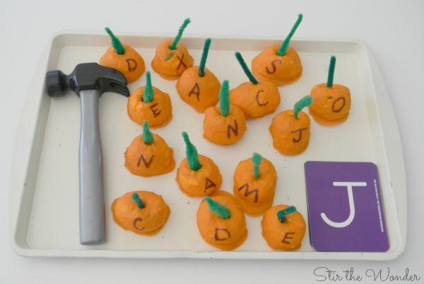 ABC baked cotton ball pumpkins
