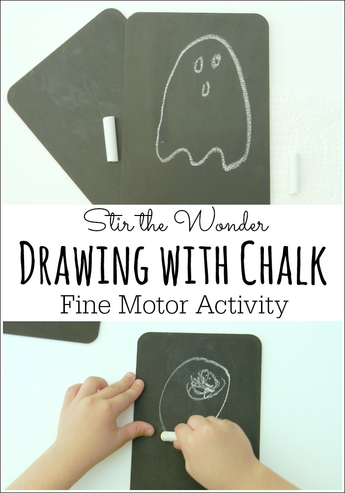 Drawing with Chalk on mini chalkboards is a great way for preschoolers to work on fine motor skills and practice handwriting!