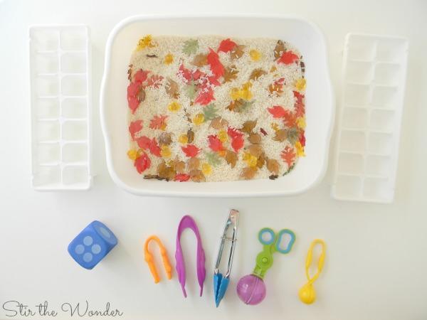 Fall Sensory Bin Math Game