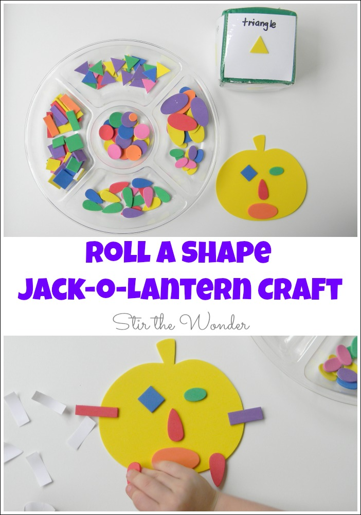 Roll a Shape Jack o Lantern Craft is a simple Halloween activity that toddlers and preschoolers will enjoy! It also promotes shape recognition, fine motor skills and creativity!