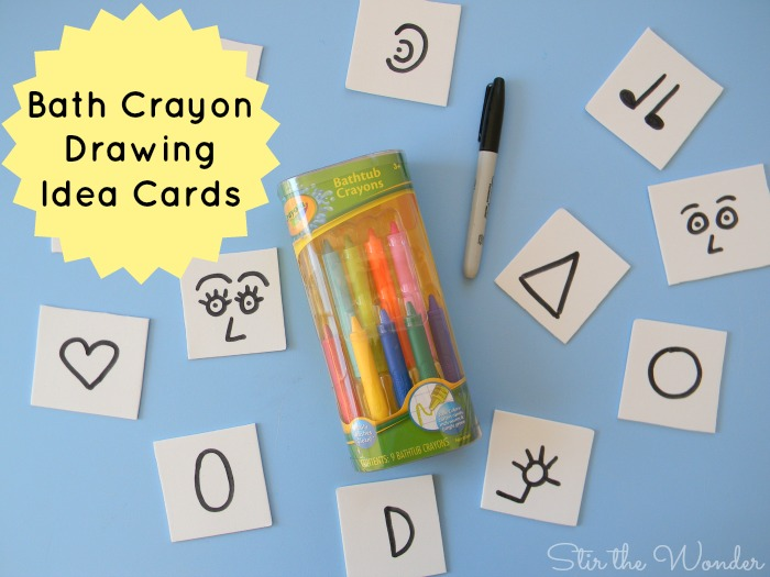 Bath Crayon Drawing Idea Cards