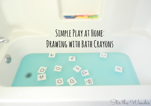 Simple Play at Home: Drawing with Bath Crayons using idea cards