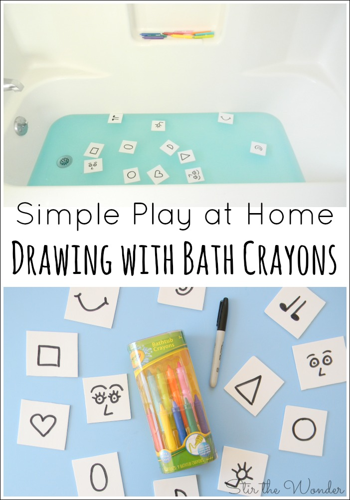 Drawing with Bath Crayons is a simple play idea for kids to do at home.