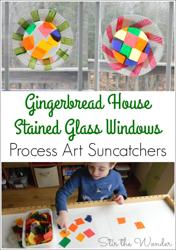 Creating a Gingerbread House Stained Glass Window sun-catcher with tissue paper is an adorable way to include process art in a child's Christmas craft.