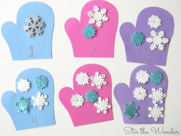 Mitten Math Counting Snowflakes Preschool Math Activity