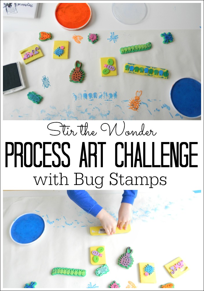 A simple process art activity for toddlers and preschoolers using cute bug stamps!