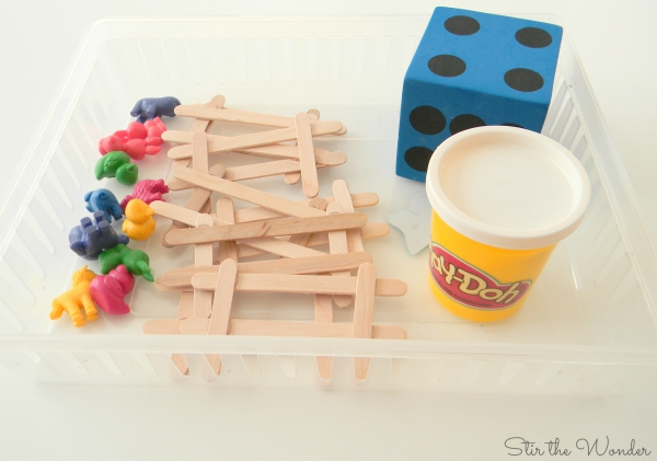 Supplies needed for Counting More or Less with Farm Animal Rainbow Counters