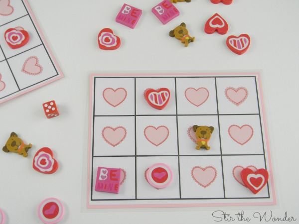 Valentine's Day Grid Math Game with Mini Erasers