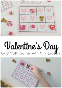 Print this fun Valentine's Day Grid Math Game for your preschooler & play with some cute mini erasers!