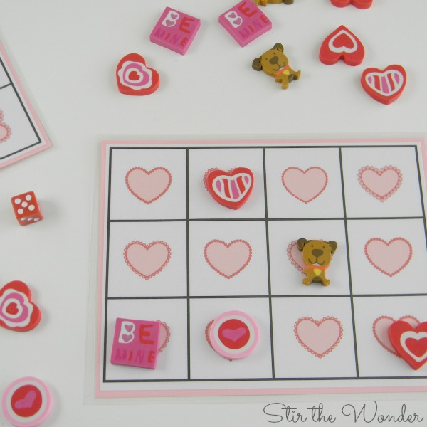 Valentine's Day Grid Math Game with Mini Erasers for Preschoolers