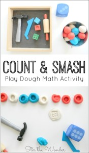 Count and Smash Play Dough Math Activity is a fun, hands-on, sensory way for preschoolers to practice counting & fine motor skills!