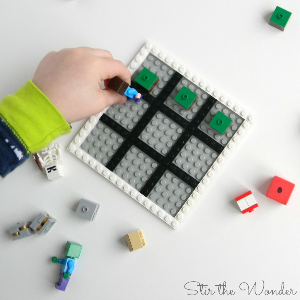 Minecraft LEGO Grid Game is fun for preschoolers learning early math skills.