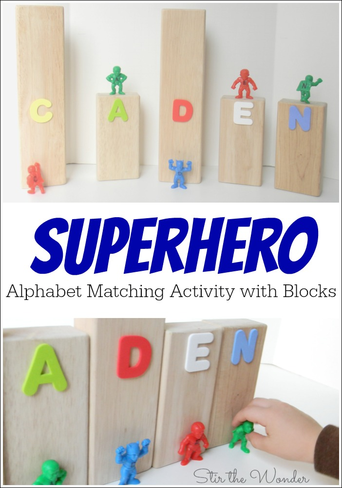 Superhero Alphabet Matching Activity with Blocks is a fun way to play while learning letter recognition.