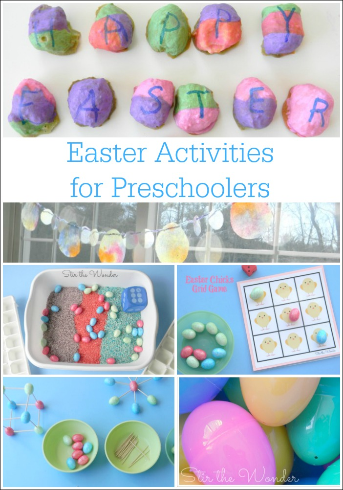 Here are 6 Easter Activites for Preschoolers that cover fine motor skills, sensory play, math, the alphabet and more!