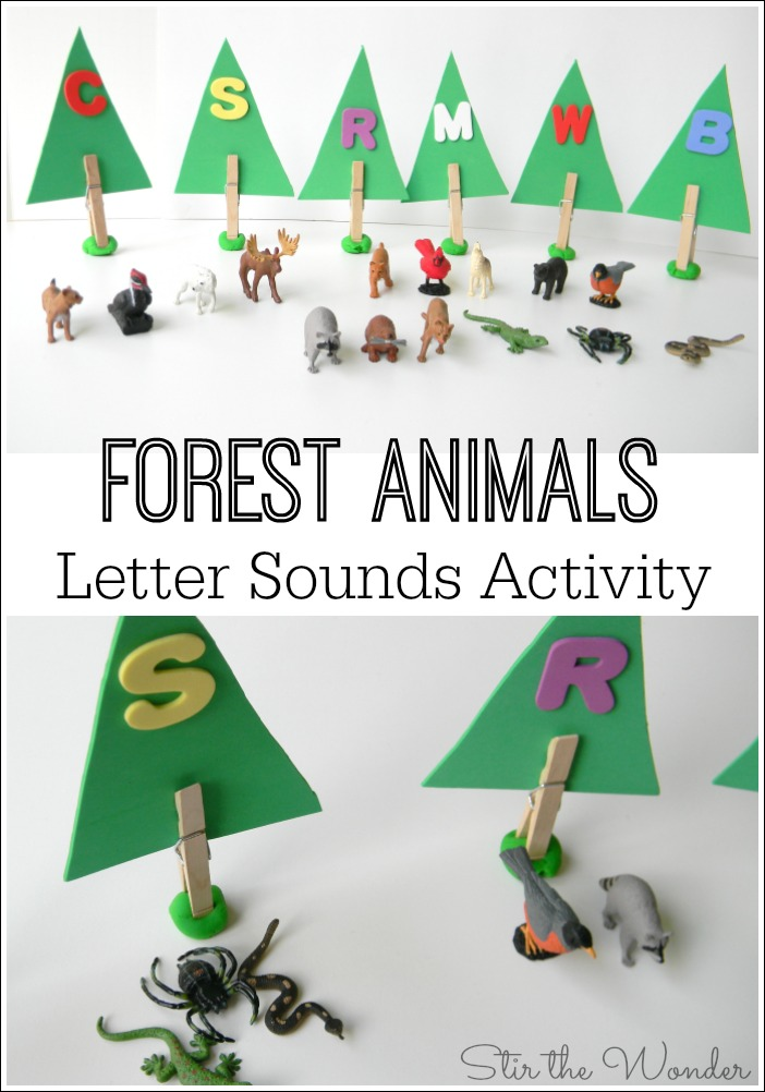 This Forest Animals Letter Sounds Activity is a fun, hands-on way for preschoolers to learn the sounds of the letters!