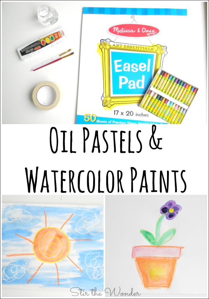 Oil Pastels and Watercolor Paints can create some super neat works of art! It is also a great medium to let kids just explore in an open-ended way!
