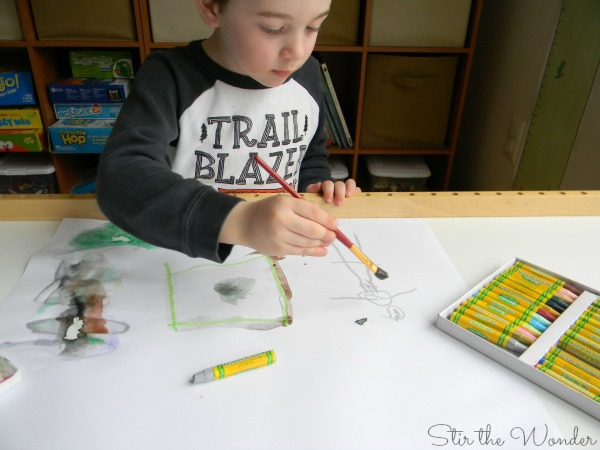 Open-ended art with oil pastels and watercolor paints