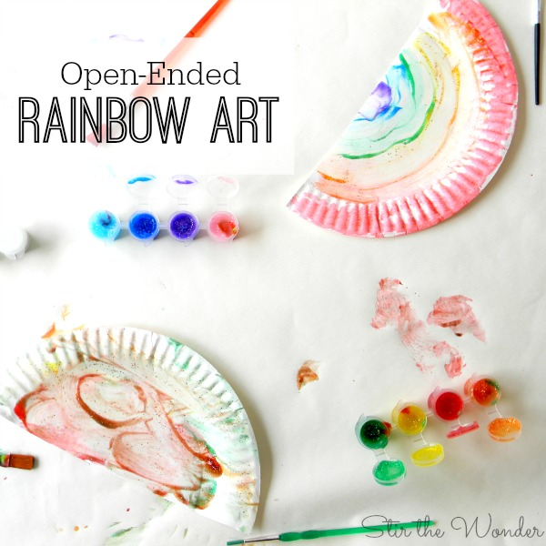 Open-ended rainbow art is a fun way for toddlers and preschoolers to learn about colors!