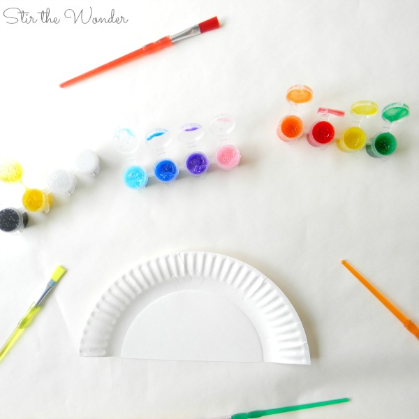 Supplies needed for open-ended rainbow art project