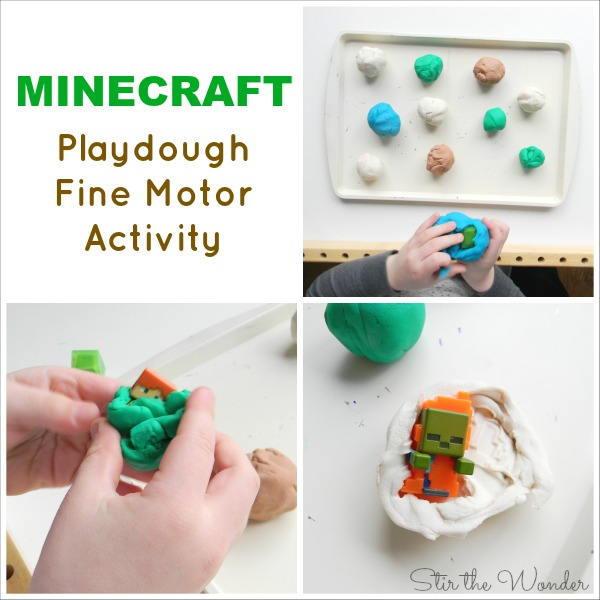 Digging through play dough to search for Minecraft characters is a fun way for kids to work on fine motor skills.