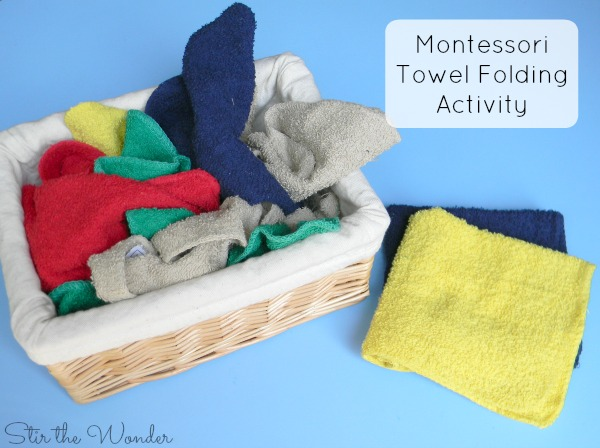 Montessori Inspired Towel Folding Practical Life Activity for preschoolers