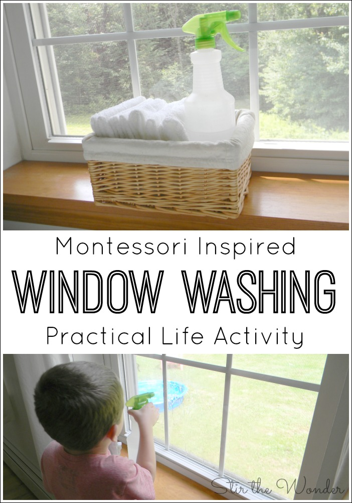 Teach kids a practical life skill while practicing fine motor skills with this simple Montessori Inspired Window Washing Activity.