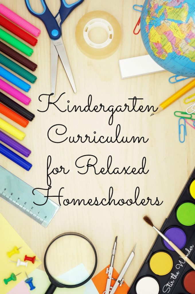 Kindergarten Curriculum choices for Relaxed Homeschoolers that covers the basics of reading, handwriting and math.