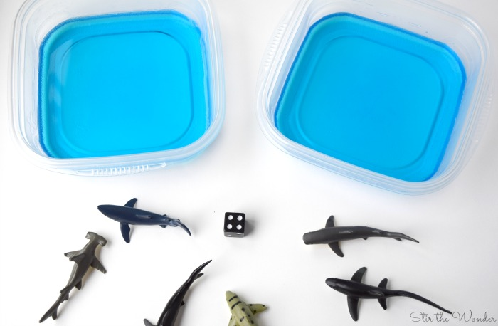 supplies for shark aquarium math game