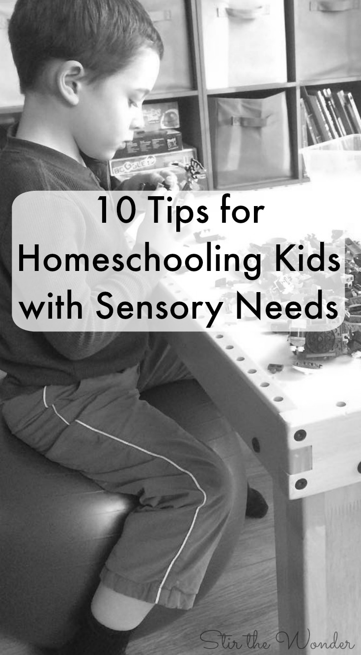 10 Tips for Homeschooling Kids with Sensory Needs, practical tips you can implement right away to help you get the most out of your homeschool day!
