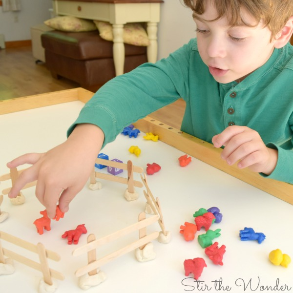 Farm Animals Hands-on Math Game for learning addition or subtraction