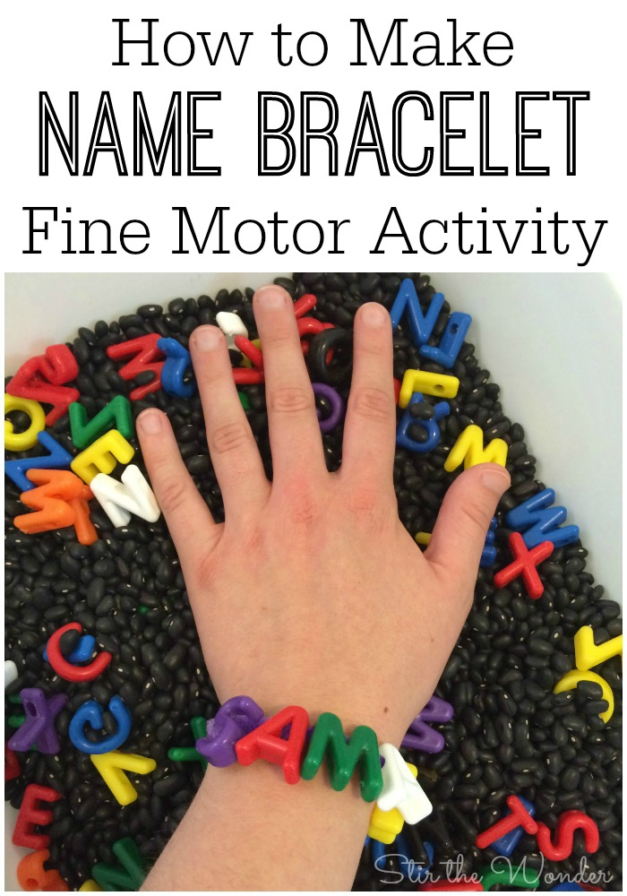 Creating a Name Bracelet with alphabet beads is a fun way for preschoolers to learn the letters of their name and practice fine motor skills.